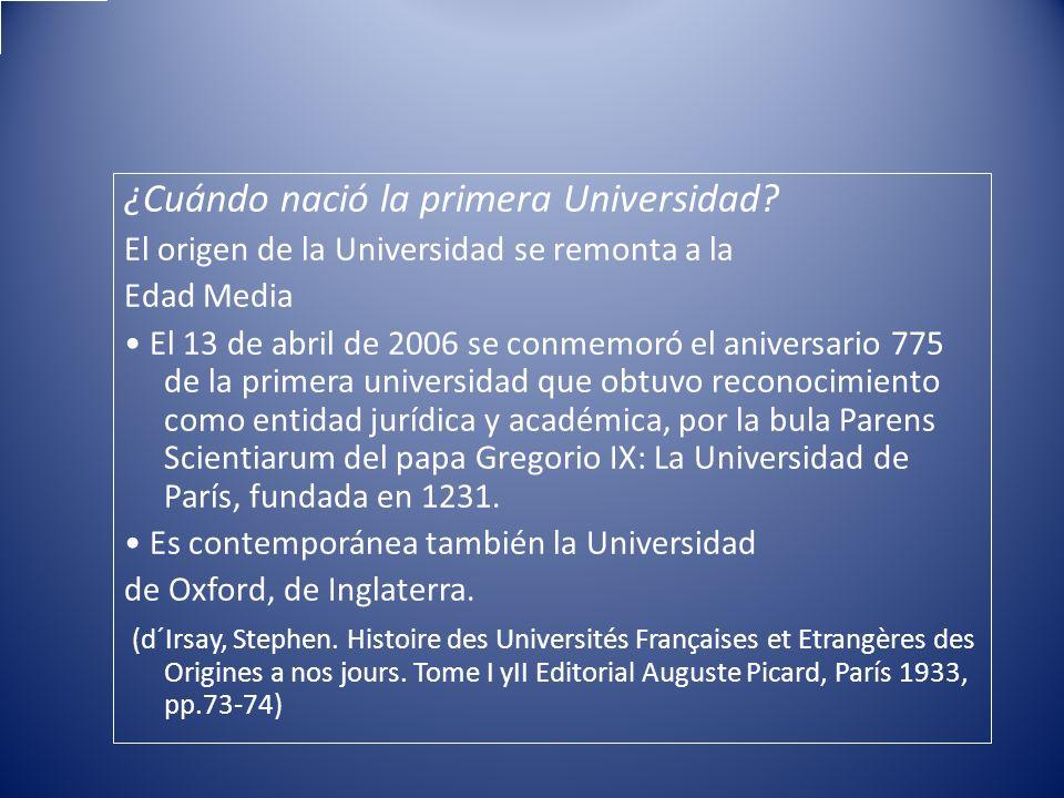 ¿Cuándo nació la primera Universidad