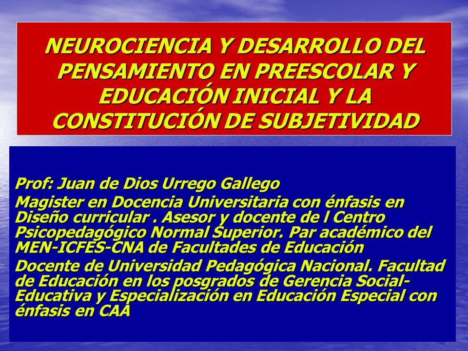 NEUROCIENCIA Y DESARROLLO DEL PENSAMIENTO EN PREESCOLAR Y EDUCACIÓN INICIAL Y LA CONSTITUCIÓN DE SUBJETIVIDAD