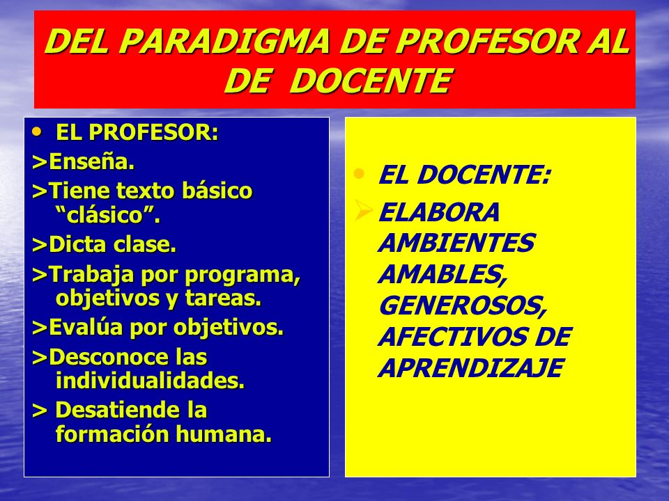 DEL PARADIGMA DE PROFESOR AL DE DOCENTE