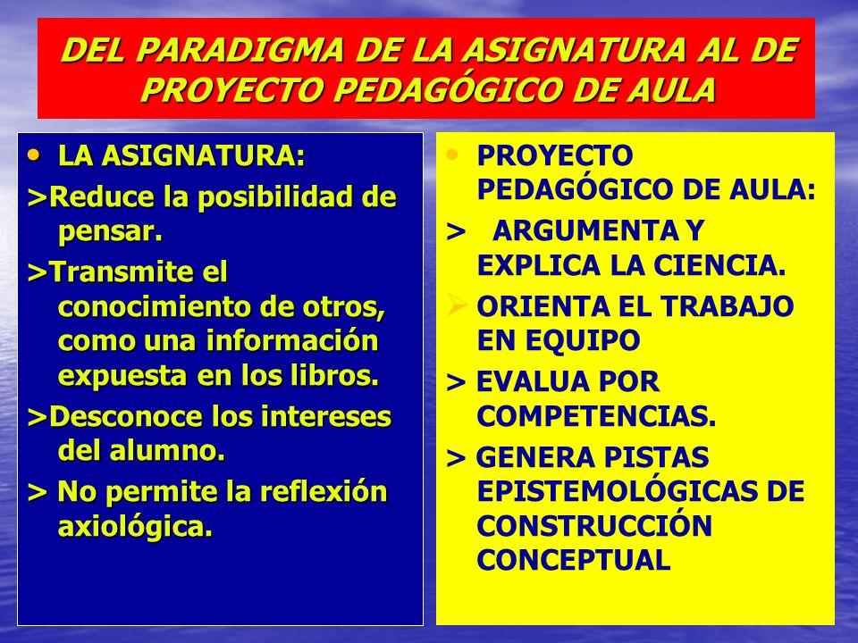 DEL PARADIGMA DE LA ASIGNATURA AL DE PROYECTO PEDAGÓGICO DE AULA