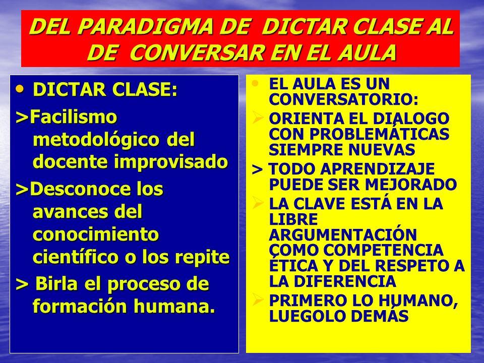 DEL PARADIGMA DE DICTAR CLASE AL DE CONVERSAR EN EL AULA