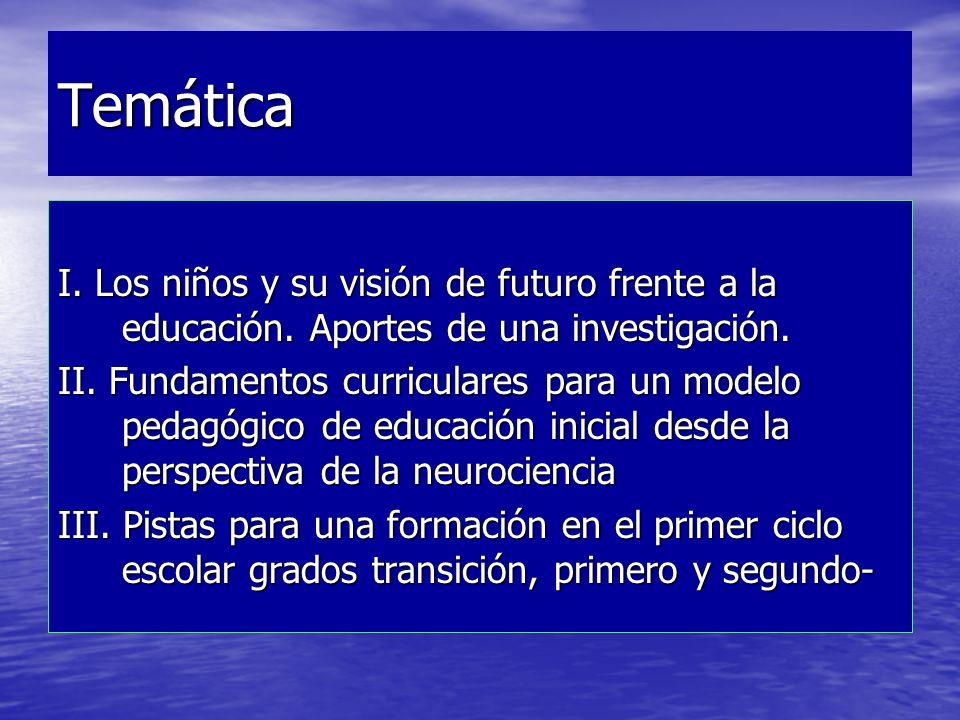Temática I. Los niños y su visión de futuro frente a la educación. Aportes de una investigación.
