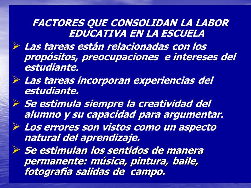 FACTORES QUE CONSOLIDAN LA LABOR EDUCATIVA EN LA ESCUELA