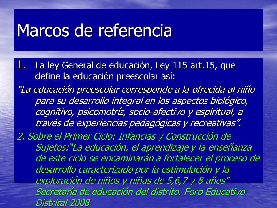 Marcos de referencia La ley General de educación, Ley 115 art.15, que define la educación preescolar así:
