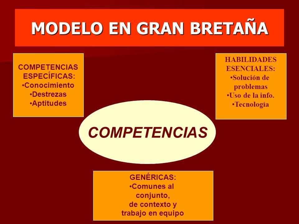MODELO EN GRAN BRETAÑA COMPETENCIAS HABILIDADES COMPETENCIAS