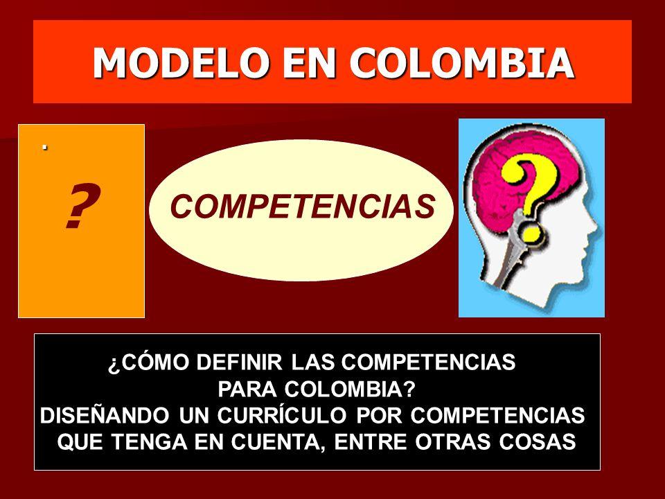 MODELO EN COLOMBIA COMPETENCIAS . ¿CÓMO DEFINIR LAS COMPETENCIAS