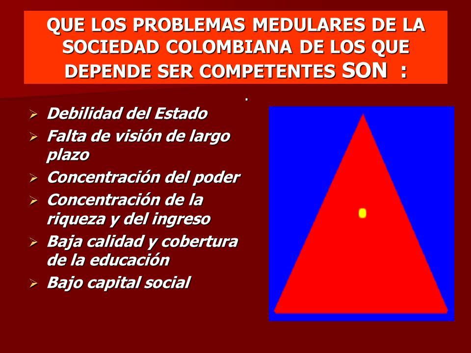 QUE LOS PROBLEMAS MEDULARES DE LA SOCIEDAD COLOMBIANA DE LOS QUE DEPENDE SER COMPETENTES SON :