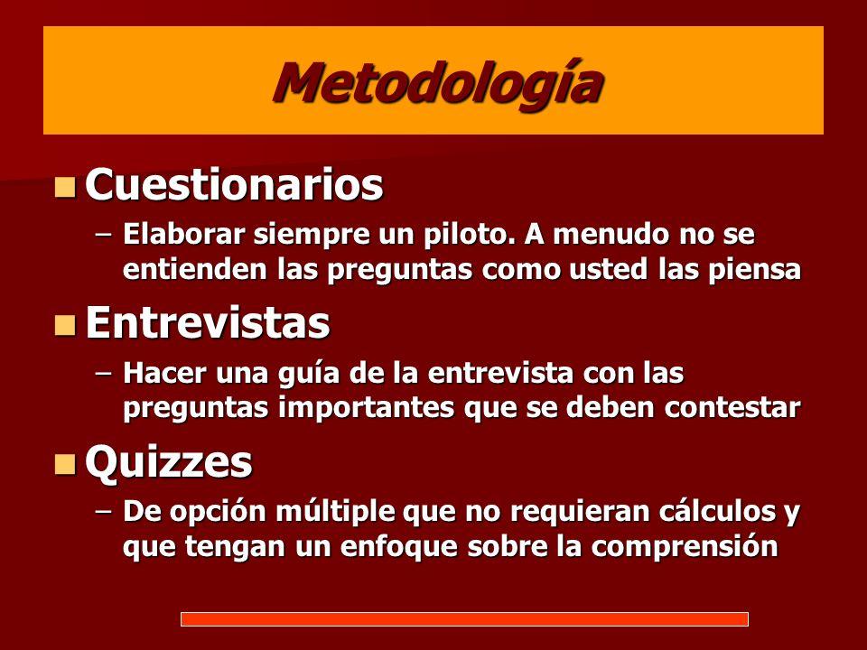 Metodología Cuestionarios Entrevistas Quizzes