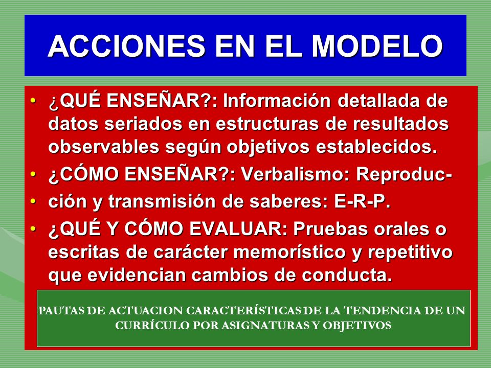 ACCIONES EN EL MODELO ¿QUÉ ENSEÑAR : Información detallada de datos seriados en estructuras de resultados observables según objetivos establecidos.