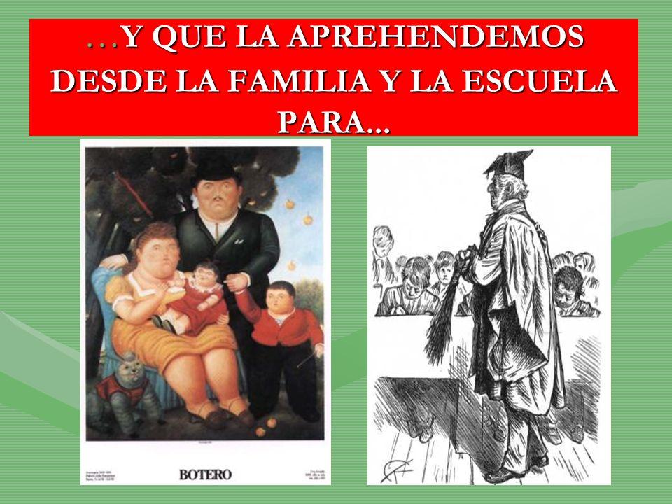 …Y QUE LA APREHENDEMOS DESDE LA FAMILIA Y LA ESCUELA PARA...