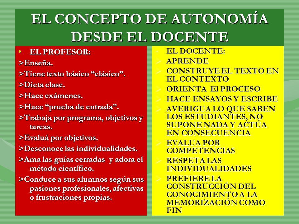 EL CONCEPTO DE AUTONOMÍA DESDE EL DOCENTE