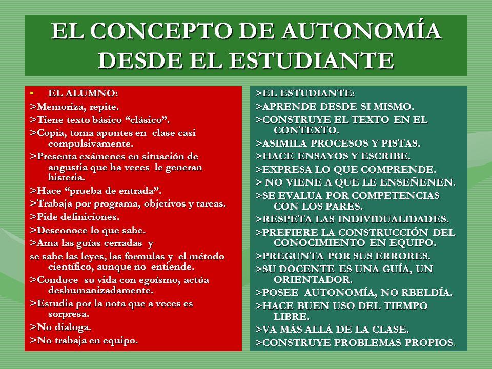 EL CONCEPTO DE AUTONOMÍA DESDE EL ESTUDIANTE