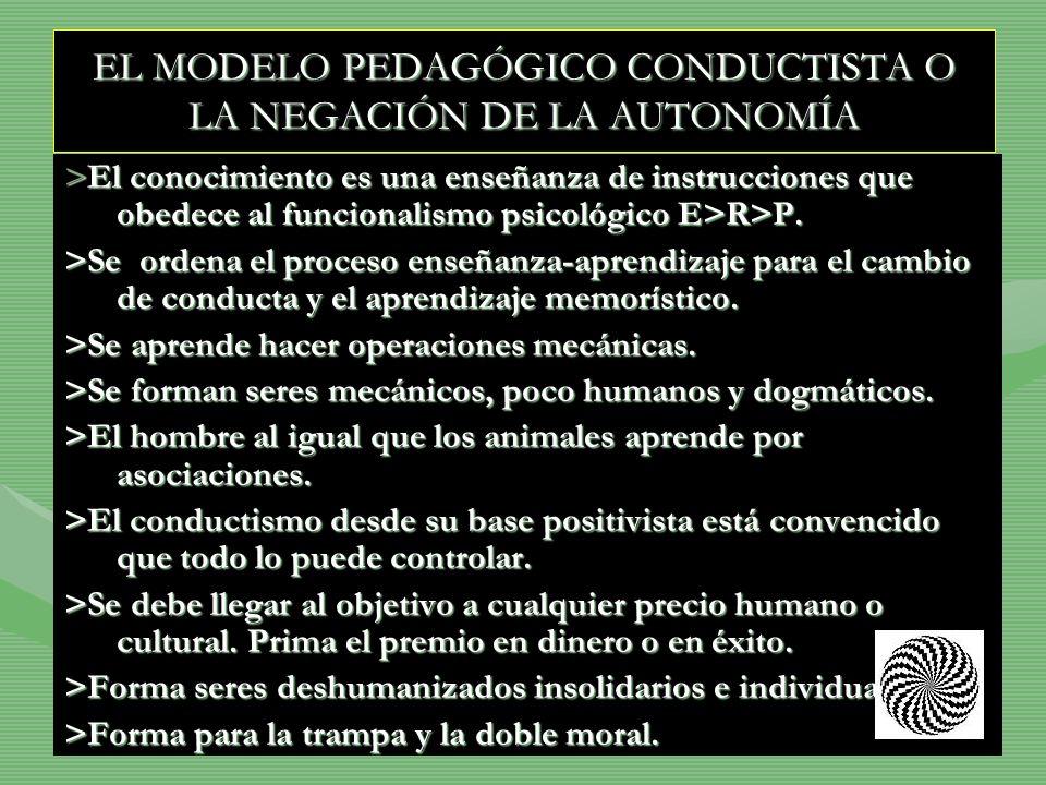 EL MODELO PEDAGÓGICO CONDUCTISTA O LA NEGACIÓN DE LA AUTONOMÍA