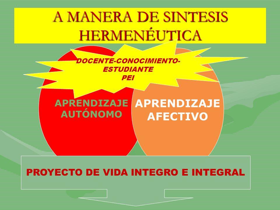 A MANERA DE SINTESIS HERMENÉUTICA