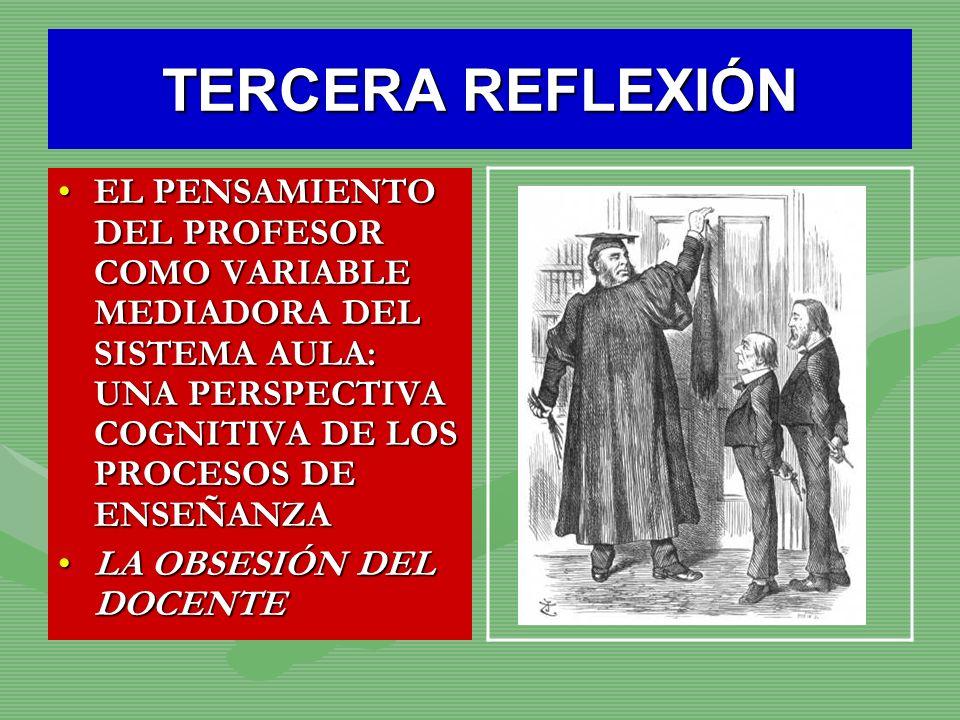 TERCERA REFLEXIÓNEL PENSAMIENTO DEL PROFESOR COMO VARIABLE MEDIADORA DEL SISTEMA AULA: UNA PERSPECTIVA COGNITIVA DE LOS PROCESOS DE ENSEÑANZA.