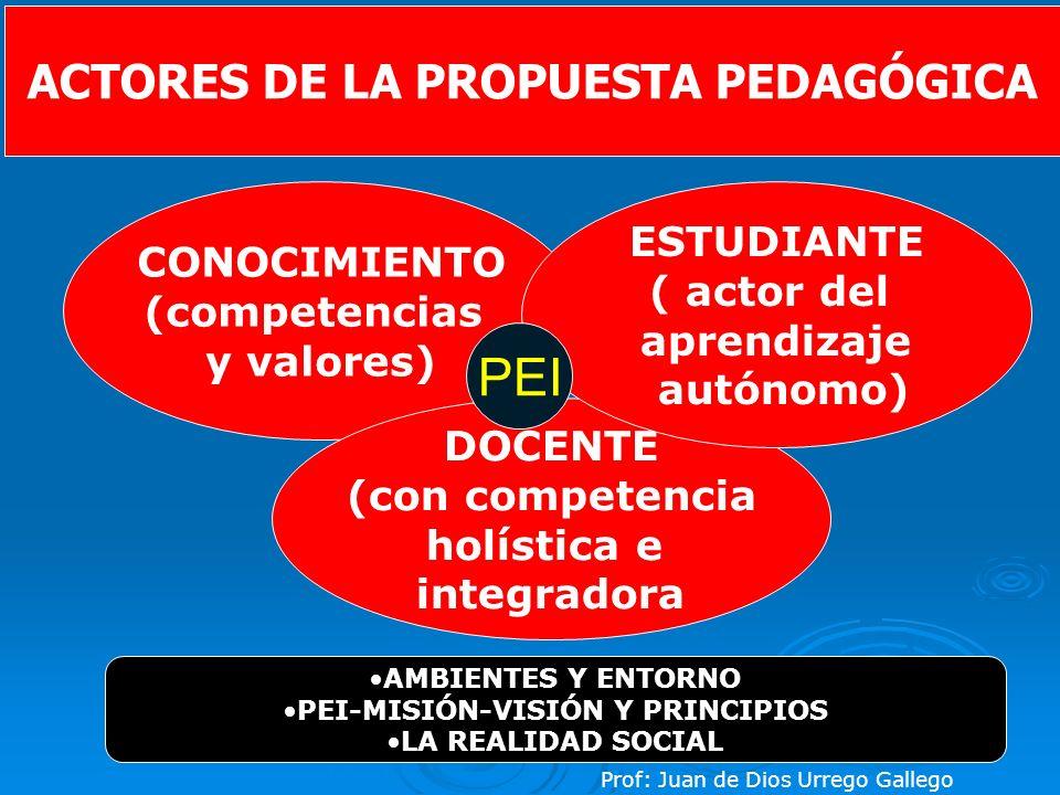ACTORES DE LA PROPUESTA PEDAGÓGICA PEI-MISIÓN-VISIÓN Y PRINCIPIOS