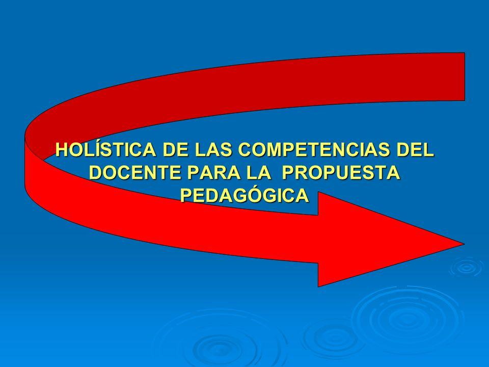 HOLÍSTICA DE LAS COMPETENCIAS DEL DOCENTE PARA LA PROPUESTA PEDAGÓGICA