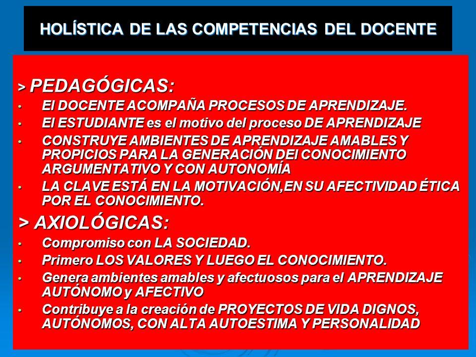 HOLÍSTICA DE LAS COMPETENCIAS DEL DOCENTE