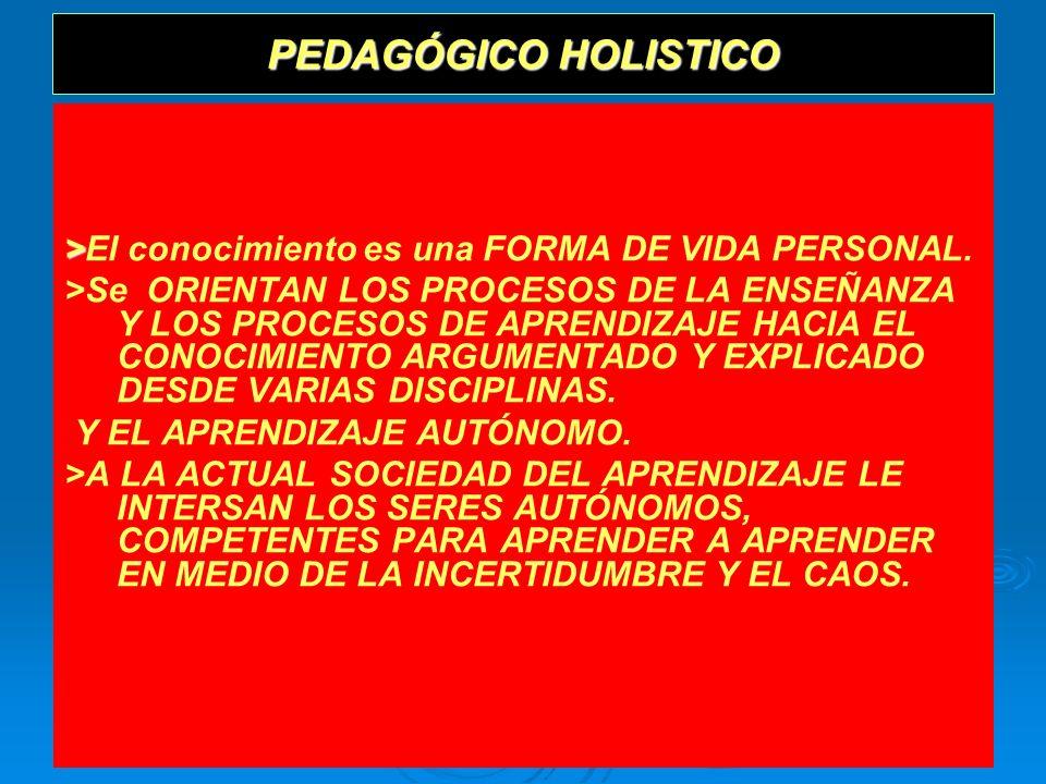 PEDAGÓGICO HOLISTICO>El conocimiento es una FORMA DE VIDA PERSONAL.