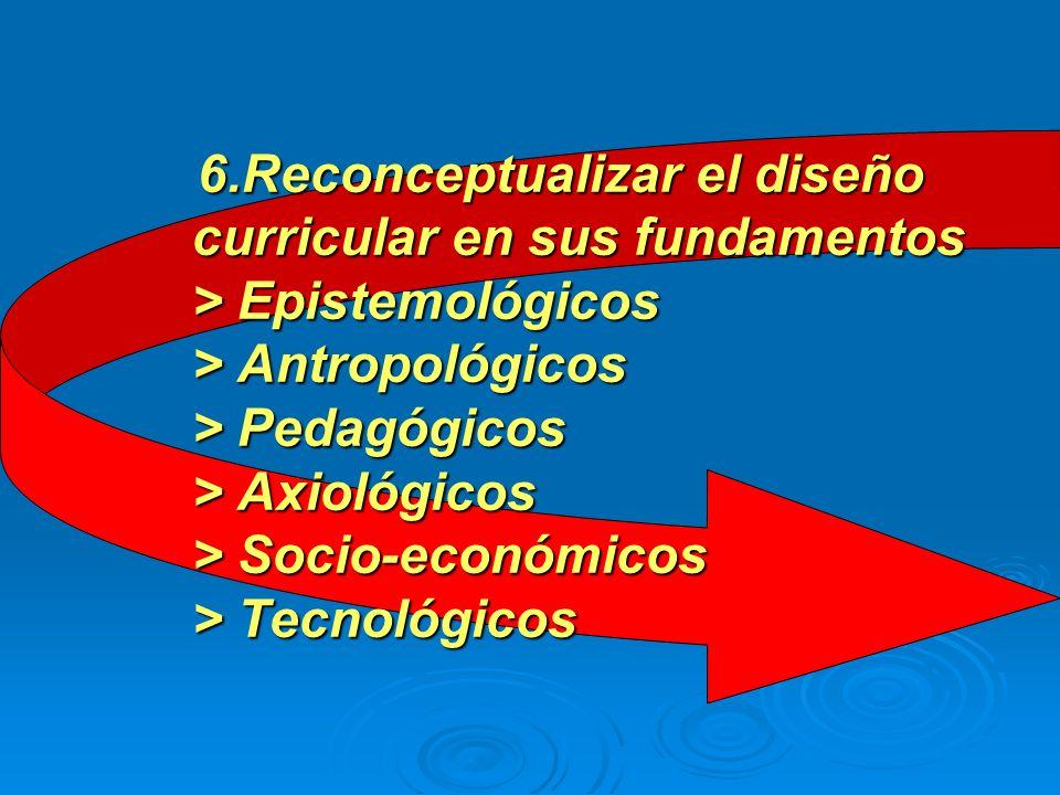 6.Reconceptualizar el diseño curricular en sus fundamentos > Epistemológicos > Antropológicos > Pedagógicos > Axiológicos > Socio-económicos > Tecnológicos
