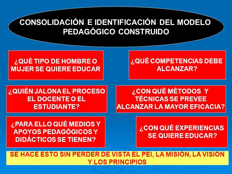 CONSOLIDACIÓN E IDENTIFICACIÓN DEL MODELO PEDAGÓGICO CONSTRUIDO