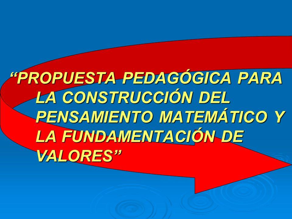 PROPUESTA PEDAGÓGICA PARA LA CONSTRUCCIÓN DEL PENSAMIENTO MATEMÁTICO Y LA FUNDAMENTACIÓN DE VALORES
