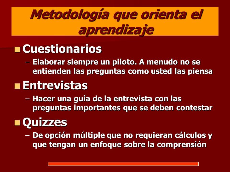 Metodología que orienta el aprendizaje