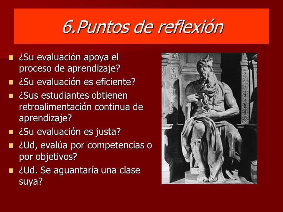 6.Puntos de reflexión ¿Su evaluación apoya el proceso de aprendizaje