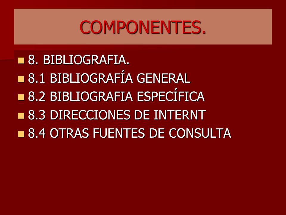 COMPONENTES. 8. BIBLIOGRAFIA. 8.1 BIBLIOGRAFÍA GENERAL