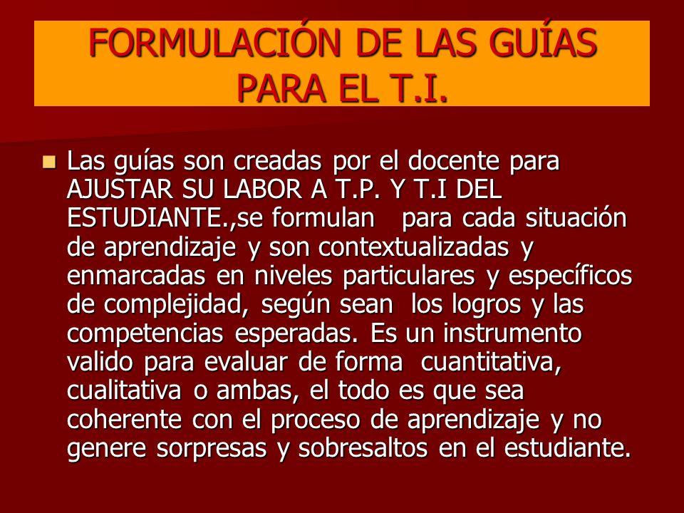 FORMULACIÓN DE LAS GUÍAS PARA EL T.I.