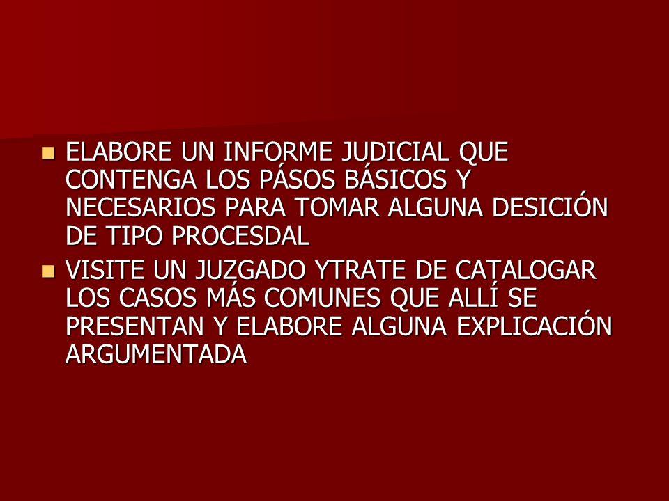 ELABORE UN INFORME JUDICIAL QUE CONTENGA LOS PÁSOS BÁSICOS Y NECESARIOS PARA TOMAR ALGUNA DESICIÓN DE TIPO PROCESDAL