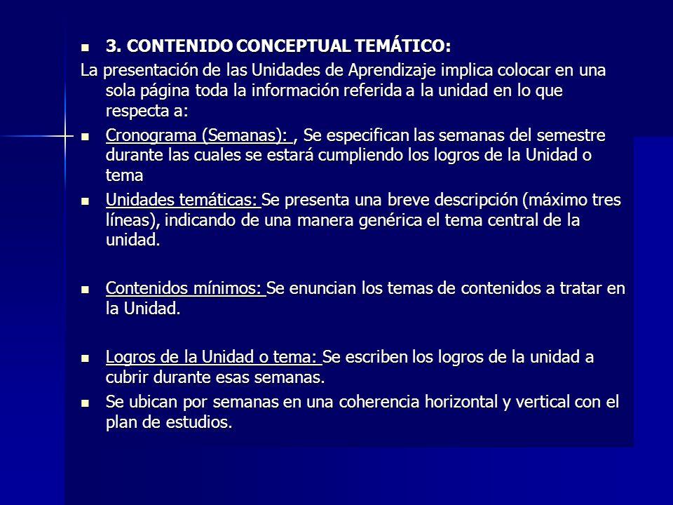 3. CONTENIDO CONCEPTUAL TEMÁTICO: