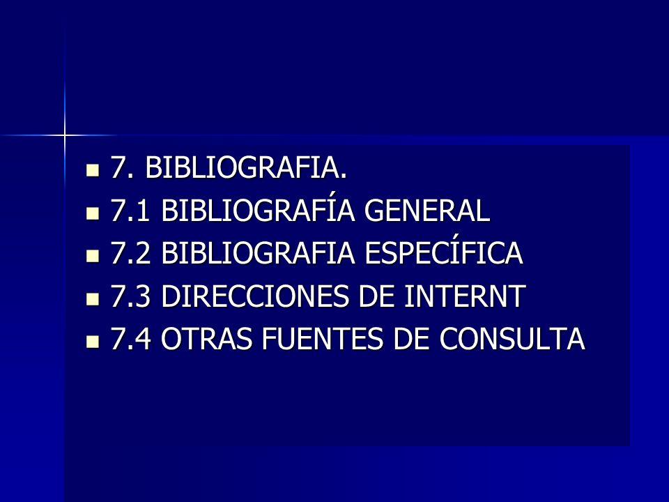 7. BIBLIOGRAFIA. 7.1 BIBLIOGRAFÍA GENERAL. 7.2 BIBLIOGRAFIA ESPECÍFICA. 7.3 DIRECCIONES DE INTERNT.