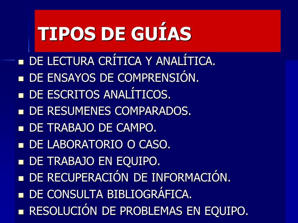 TIPOS DE GUÍAS DE LECTURA CRÍTICA Y ANALÍTICA.