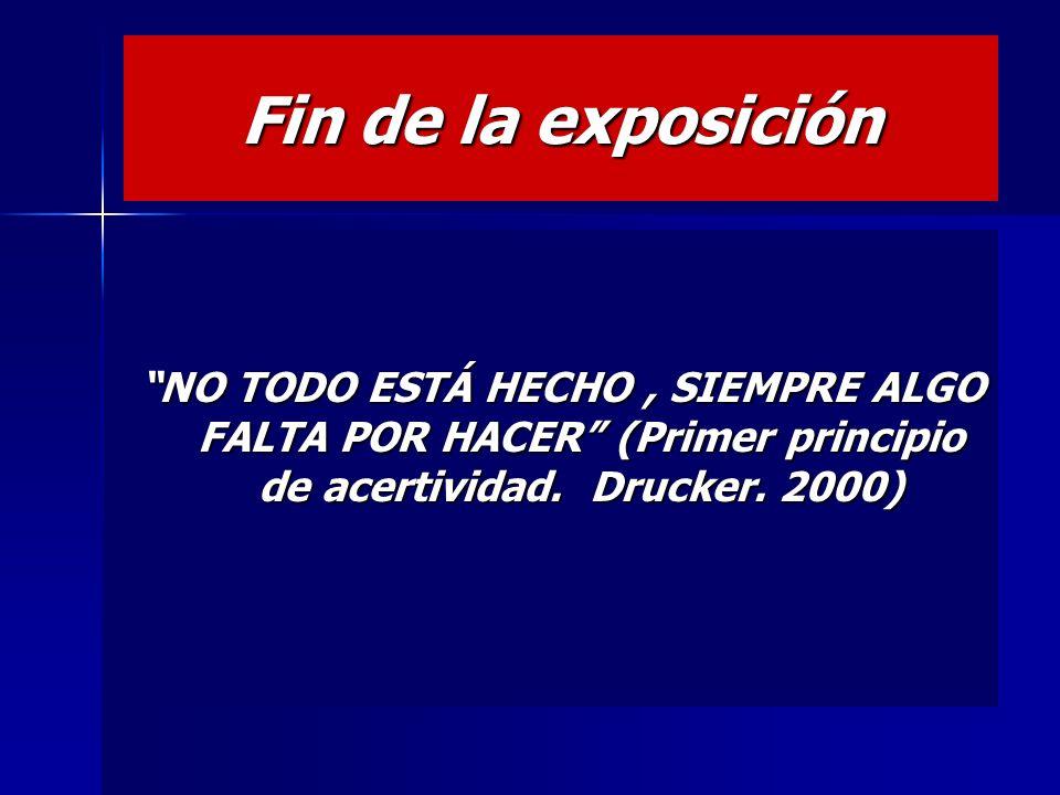 Fin de la exposición NO TODO ESTÁ HECHO , SIEMPRE ALGO FALTA POR HACER (Primer principio de acertividad.