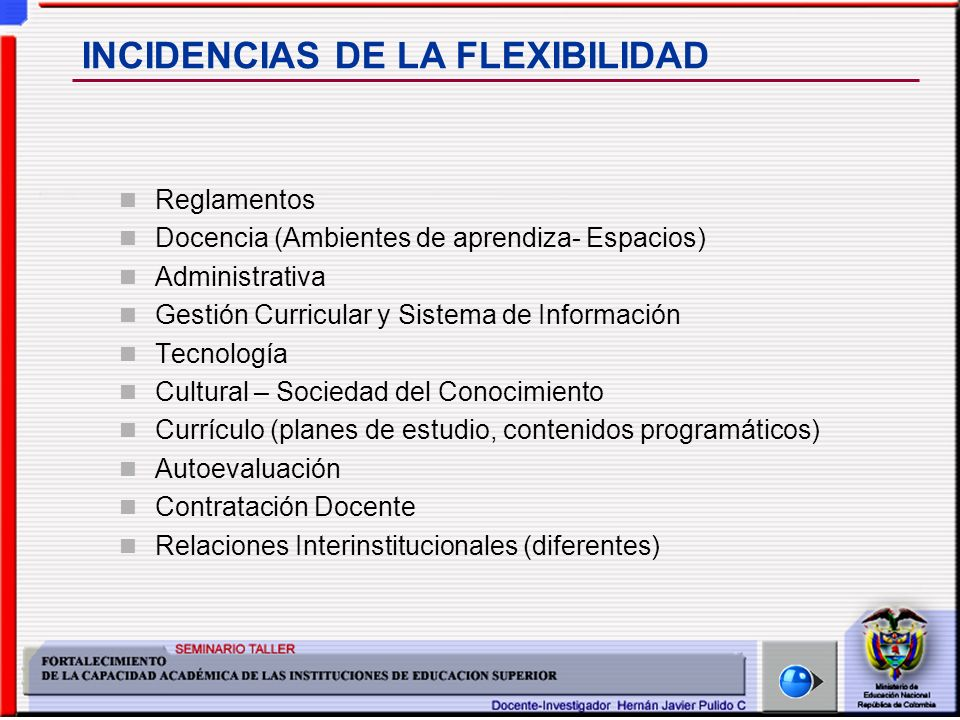 INCIDENCIAS DE LA FLEXIBILIDAD