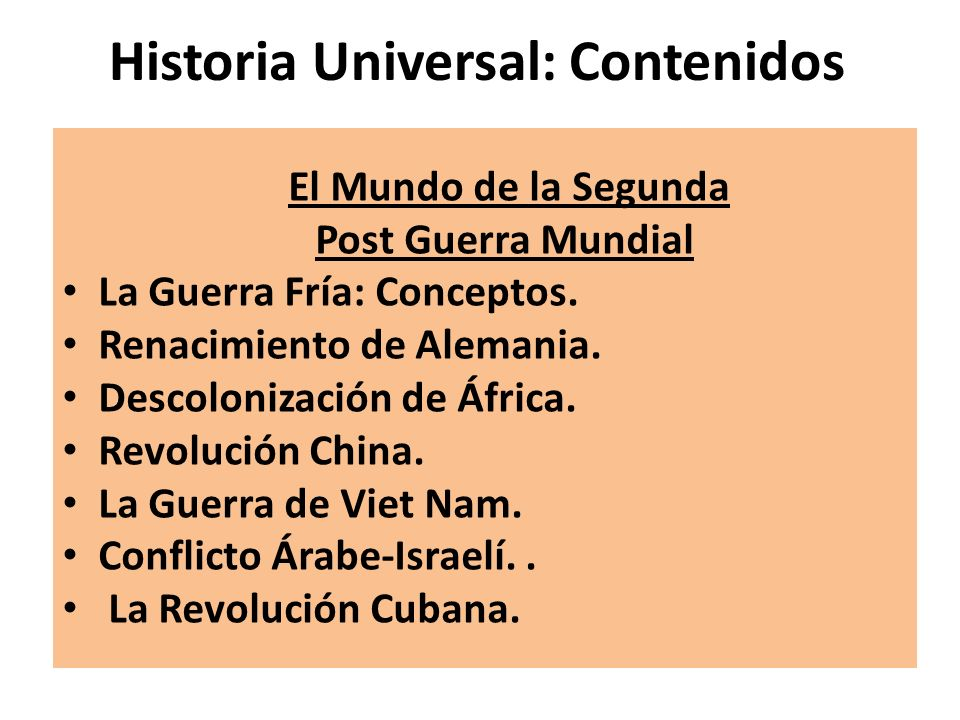Historia Universal: Contenidos