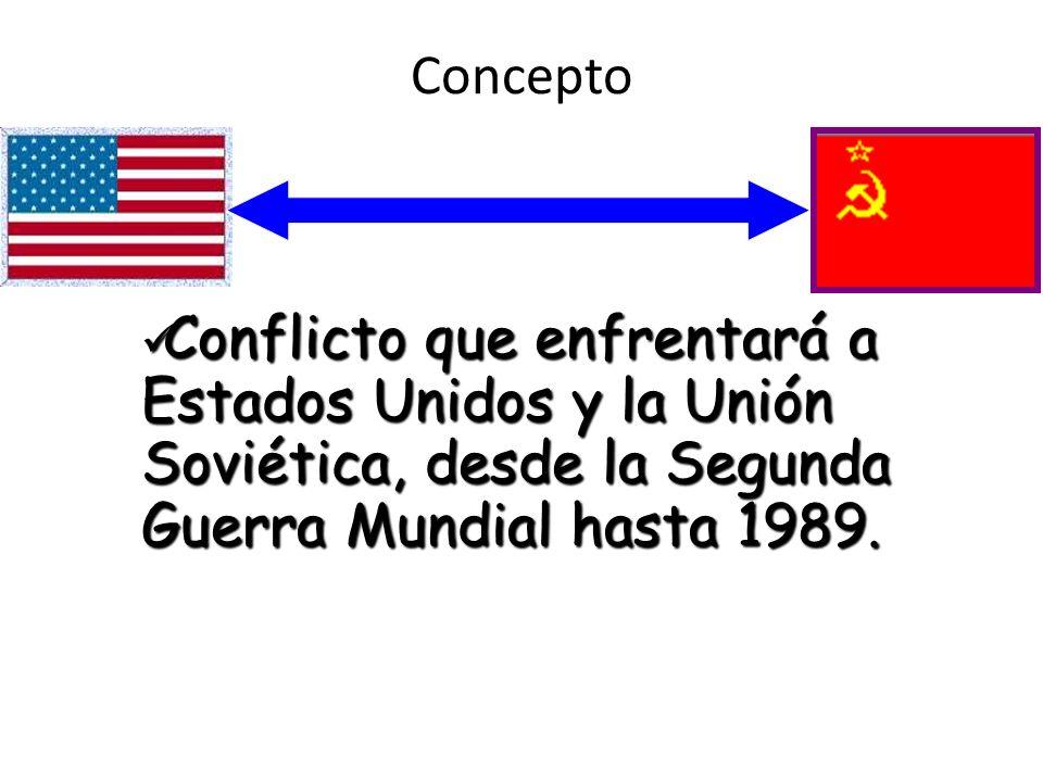 Concepto Conflicto que enfrentará a Estados Unidos y la Unión Soviética, desde la Segunda Guerra Mundial hasta 1989.