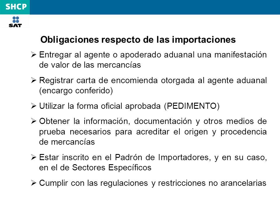 Obligaciones respecto de las importaciones