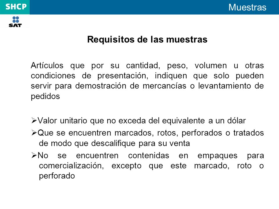 Requisitos de las muestras
