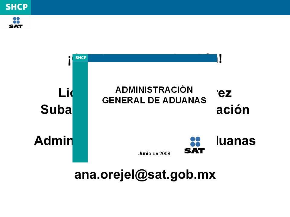 ¡Gracias por su atención! Lic. Ana Olivia Orejel Juárez