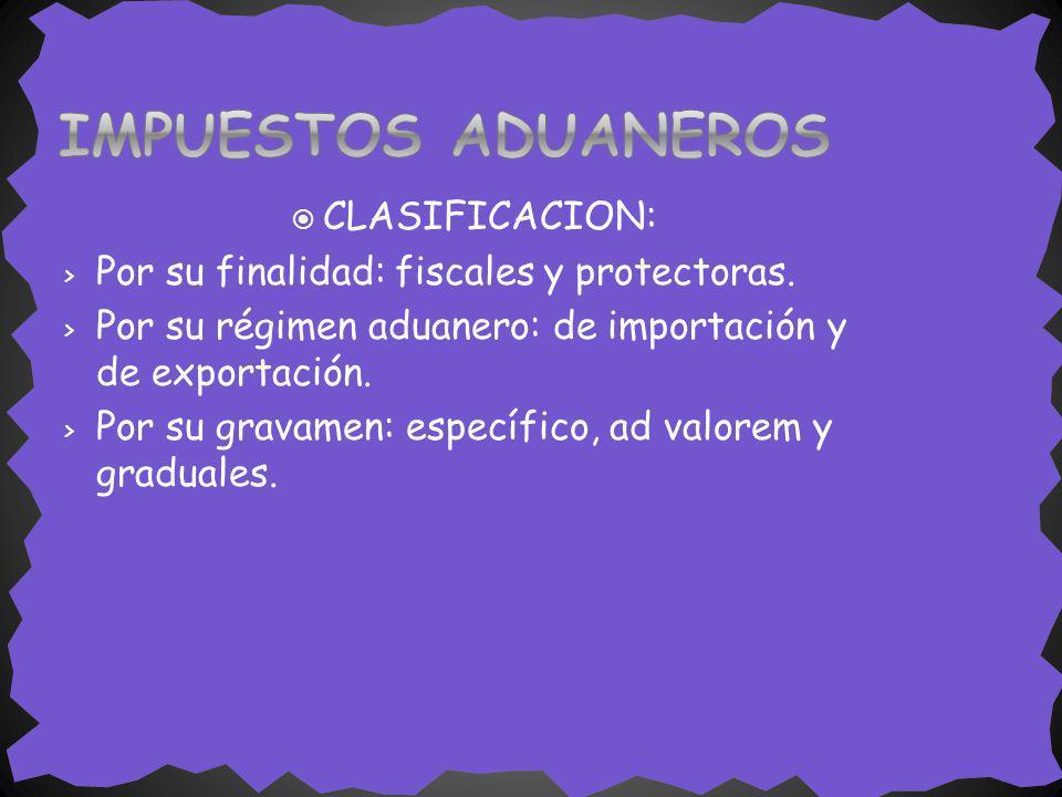IMPUESTOS ADUANEROS CLASIFICACION: