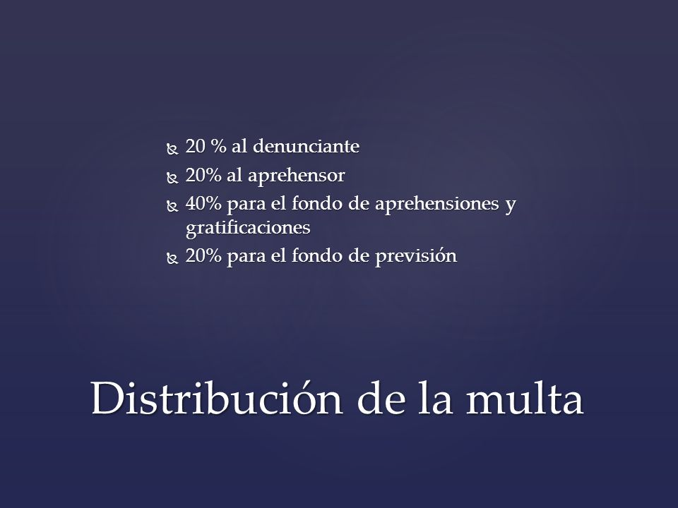 Distribución de la multa