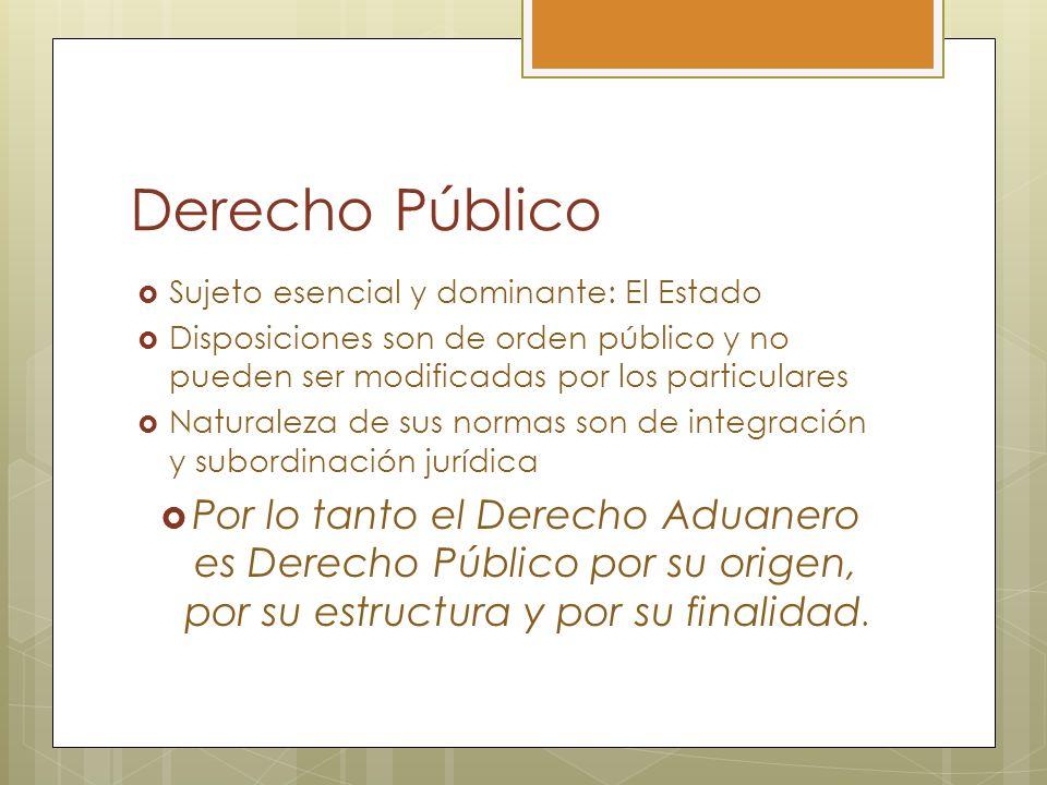 Derecho PúblicoSujeto esencial y dominante: El Estado. Disposiciones son de orden público y no pueden ser modificadas por los particulares.