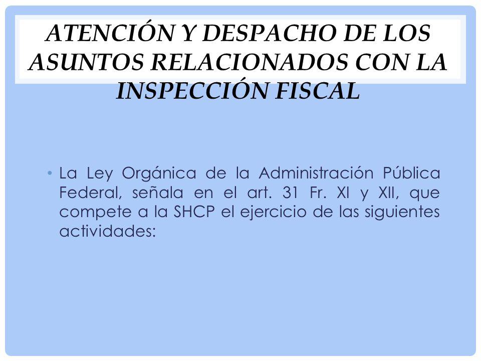 Atención y despacho de los asuntos relacionados con la inspección fiscal