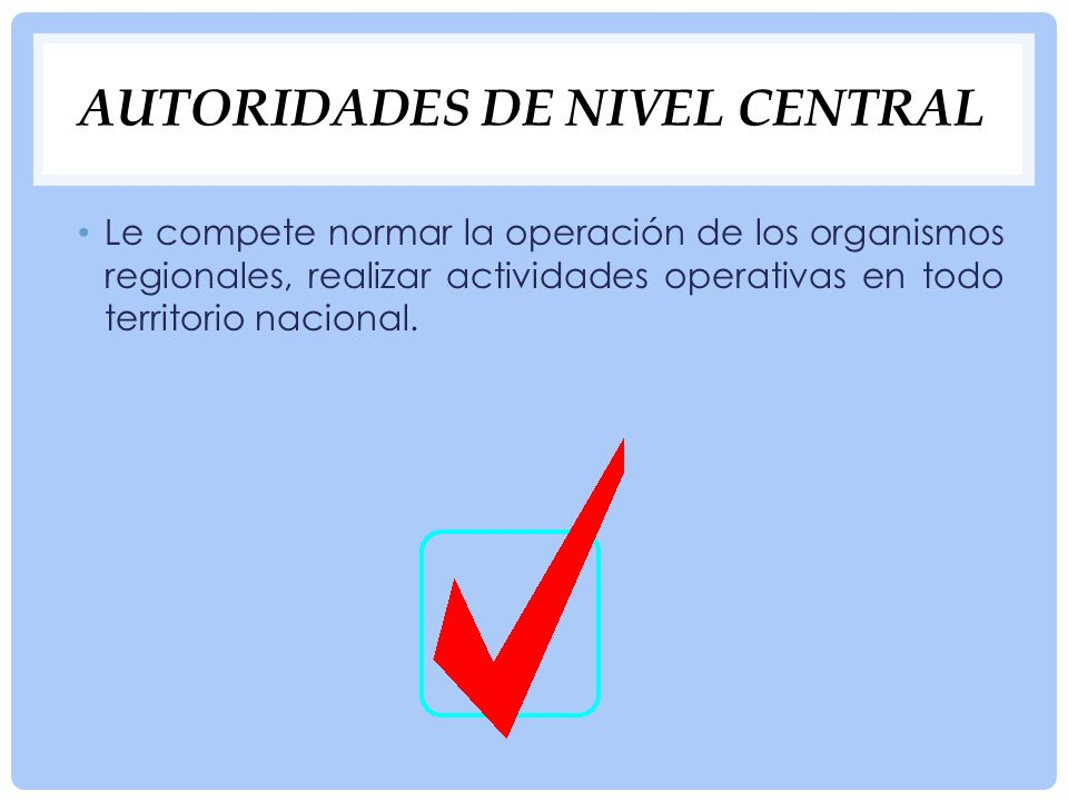 Autoridades de nivel central