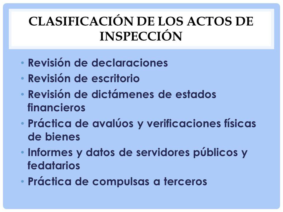CLASIFICACIÓN DE LOS ACTOS DE INSPECCIÓN