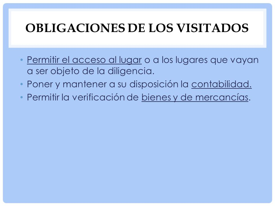 Obligaciones de los visitados