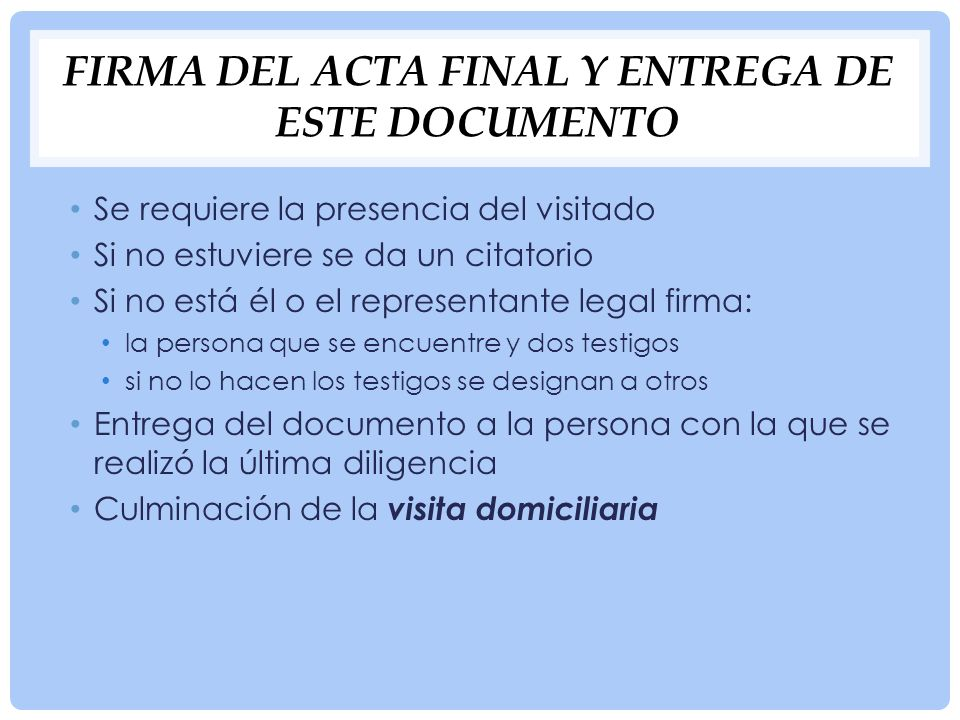 Firma del acta final y entrega de este documento