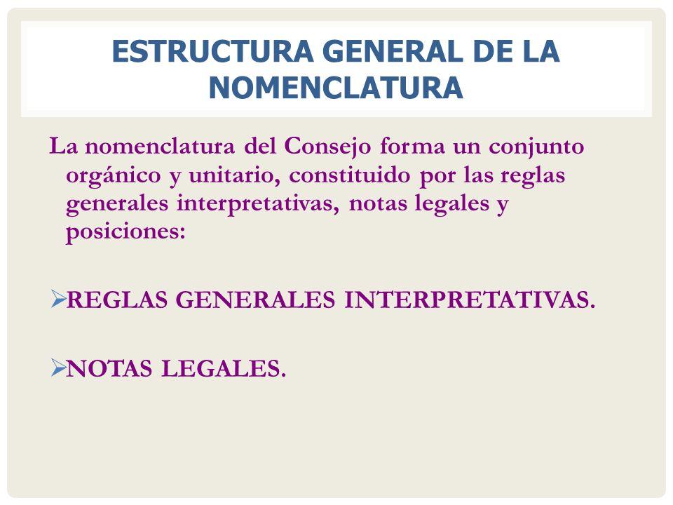 ESTRUCTURA GENERAL DE LA NOMENCLATURA